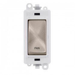 Click GridPro Brushed Stainless 20AX DP Switch Module Marked 'FAN' with White Insert