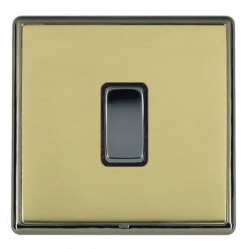 Hamilton Linea-Rondo CFX Black Nickel/Polished Brass 1 Gang 10amp 2 Way Rocker with Black Insert