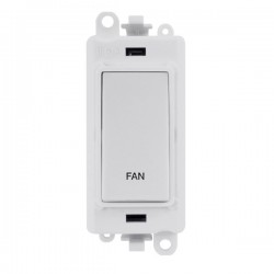 Click GridPro Polar White 20AX DP Switch Module Marked 'FAN' with White Insert
