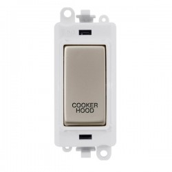Click GridPro Pearl Nickel 20AX DP Switch Module Marked 'COOKER HOOD' with White Insert