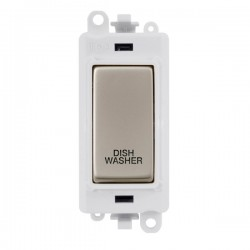 Click GridPro Pearl Nickel 20AX DP Switch Module Marked 'DISHWASHER' with White Insert