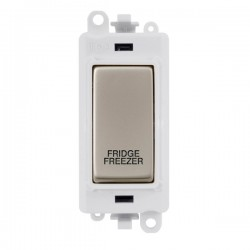 Click GridPro Pearl Nickel 20AX DP Switch Module Marked 'FRIDGE FREEZER' with White Insert
