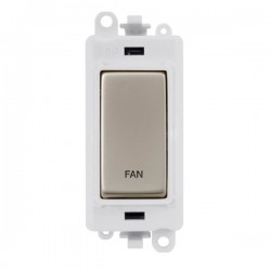 Click GridPro Pearl Nickel 20AX DP Switch Module Marked 'FAN' with White Insert