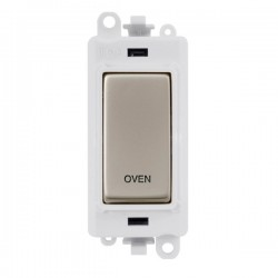 Click GridPro Pearl Nickel 20AX DP Switch Module Marked 'OVEN' with White Insert