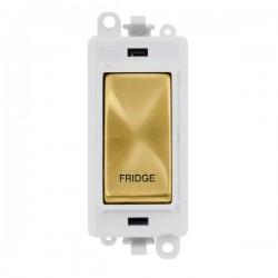 Click GridPro Satin Brass 20AX DP Switch Module Marked 'FRIDGE' with White Insert