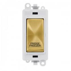 Click GridPro Satin Brass 20AX DP Switch Module Marked 'FRIDGE FREEZER' with White Insert
