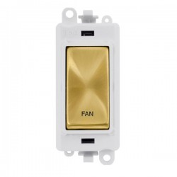 Click GridPro Satin Brass 20AX DP Switch Module Marked 'FAN' with White Insert