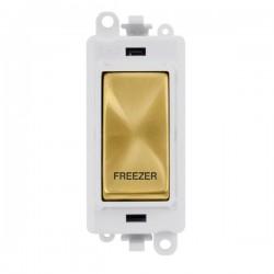Click GridPro Satin Brass 20AX DP Switch Module Marked 'FREEZER' with White Insert