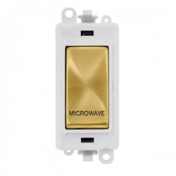 Click GridPro Satin Brass 20AX DP Switch Module Marked 'MICROWAVE' with White Insert