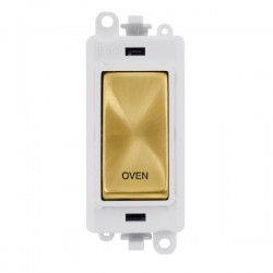 Click GridPro Satin Brass 20AX DP Switch Module Marked 'OVEN' with White Insert