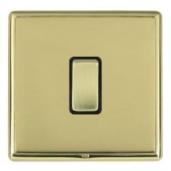 Hamilton Linea-Rondo CFX Polished Brass/Polished Brass 1 Gang 10amp 2 Way Rocker with Black Insert