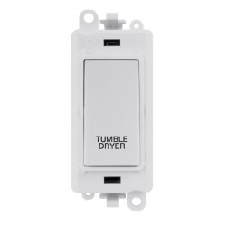 Click GridPro Polar White 20AX DP Switch Module Marked 'TUMBLE DRYER' with White Insert