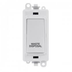 Click GridPro Polar White 20AX DP Switch Module Marked 'WASTE DISPOSAL' with White Insert