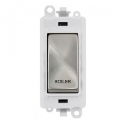 Click GridPro Satin Chrome 20AX DP Switch Module Marked 'BOILER' with White Insert