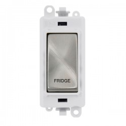 Click GridPro Satin Chrome 20AX DP Switch Module Marked 'FRIDGE' with White Insert