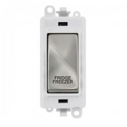 Click GridPro Satin Chrome 20AX DP Switch Module Marked 'FRIDGE FREEZER' with White Insert