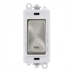 Click GridPro Satin Chrome 20AX DP Switch Module Marked 'FAN' with White Insert