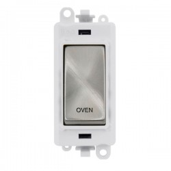 Click GridPro Satin Chrome 20AX DP Switch Module Marked 'OVEN' with White Insert