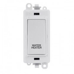 Click GridPro Polar White 20AX DP Switch Module Marked 'WATER HEATER' with White Insert