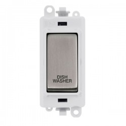 Click GridPro Stainless Steel 20AX DP Switch Module Marked 'DISHWASHER' with White Insert