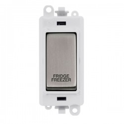 Click GridPro Stainless Steel 20AX DP Switch Module Marked 'FRIDGE FREEZER' with White Insert