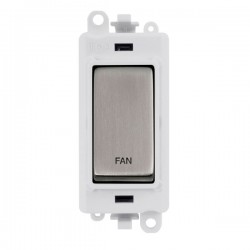 Click GridPro Stainless Steel 20AX DP Switch Module Marked 'FAN' with White Insert