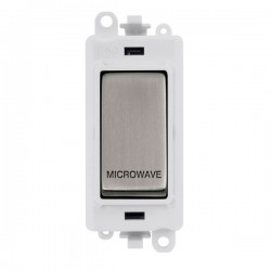 Click GridPro Stainless Steel 20AX DP Switch Module Marked 'MICROWAVE' with White Insert