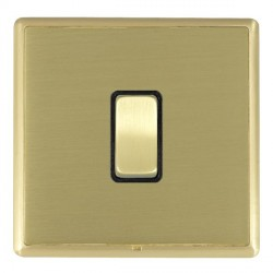 Hamilton Linea-Rondo CFX Satin Brass/Satin Brass 1 Gang 10amp 2 Way Rocker with Black Insert