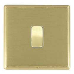 Hamilton Linea-Rondo CFX Satin Brass/Satin Brass 1 Gang 10amp 2 Way Rocker with White Insert