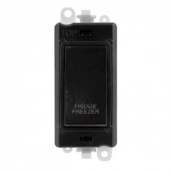 Click GridPro Black 20AX DP Switch Module Marked 'FRIDGE FREEZER' with Black Insert