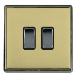 Hamilton Linea-Rondo CFX Black Nickel/Polished Brass 2 Gang 20amp 2 Way Rocker with Black Insert