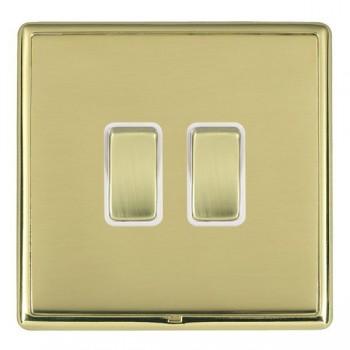 Hamilton Linea-Rondo CFX Polished Brass/Polished Brass 2 Gang 20amp 2 Way Rocker with White Insert