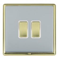 Hamilton Linea-Rondo CFX Polished Brass/Bright Steel 2 Gang 10amp 2 Way Rocker with White Insert