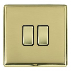 Hamilton Linea-Rondo CFX Polished Brass/Polished Brass 2 Gang 10amp 2 Way Rocker with Black Insert