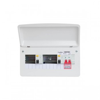 FuseBox F2 7 Way Consumer Unit - Dual 80A 30mA Type AC RCDs