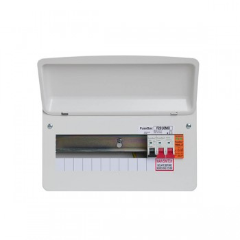 FuseBox F2 10 Way Consumer Unit - 100A Main Switch, T2 Surge Protection Device, Tail Clamp