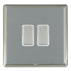 Hamilton Linea-Rondo CFX Satin Nickel/Satin Steel 2 Gang 10amp 2 Way Rocker with White Insert