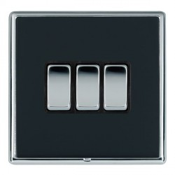 Hamilton Linea-Rondo CFX Bright Chrome/Piano Black 3 Gang 20amp 2 Way Rocker with Black Insert