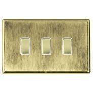Hamilton Linea-Rondo CFX Polished Brass/Antique Brass 3 Gang 20amp 2 Way Rocker with White Insert