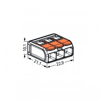 Wago COMPACT Transparent 6mm² 3-Conductor Splicing Connector with Operating Levers - Pack of 30