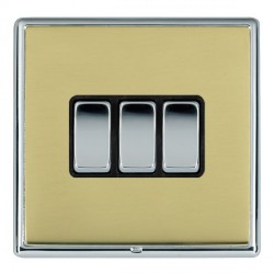 Hamilton Linea-Rondo CFX Bright Chrome/Polished Brass 3 Gang 10amp 2 Way Rocker with Black Insert