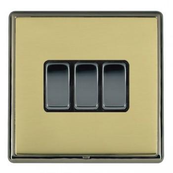 Hamilton Linea-Rondo CFX Black Nickel/Polished Brass 3 Gang 10amp 2 Way Rocker with Black Insert