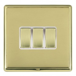 Hamilton Linea-Rondo CFX Polished Brass/Polished Brass 3 Gang 10amp 2 Way Rocker with White Insert