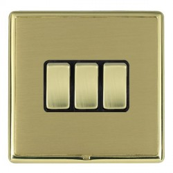 Hamilton Linea-Rondo CFX Polished Brass/Satin Brass 3 Gang 10amp 2 Way Rocker with Black Insert