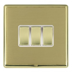 Hamilton Linea-Rondo CFX Polished Brass/Satin Brass 3 Gang 10amp 2 Way Rocker with White Insert