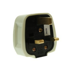 CED White Rubber 13amp 3 Pin Plug