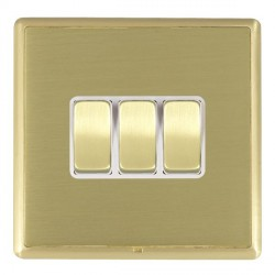 Hamilton Linea-Rondo CFX Satin Brass/Satin Brass 3 Gang 10amp 2 Way Rocker with White Insert