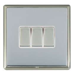 Hamilton Linea-Rondo CFX Satin Nickel/Bright Steel 3 Gang 10amp 2 Way Rocker with White Insert