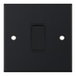 Selectric 5M Matt Black 1 Gang 10A 2 Way Switch with Black Insert