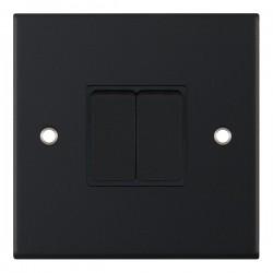Selectric 5M Matt Black 2 Gang 10A 2 Way Switch with Black Insert